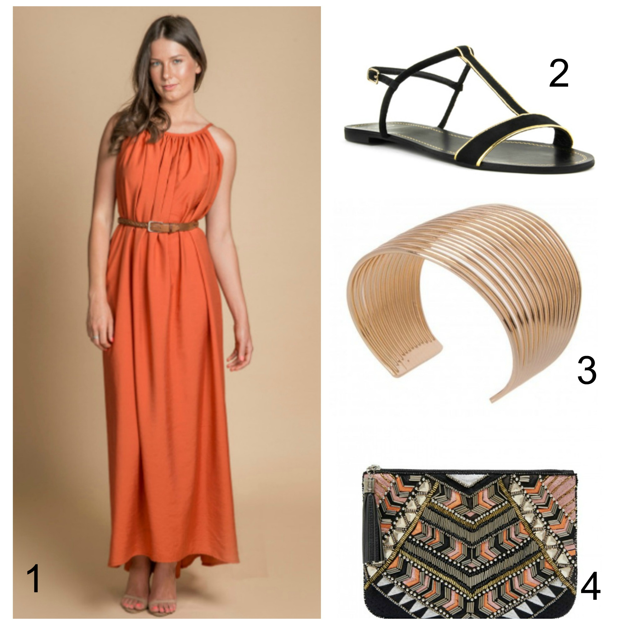Christmas dress casual - Namoi Maxi Dress 2 Novo Rani Shoes 3 Gold Bangle 4 Forever New Joanna Clutch